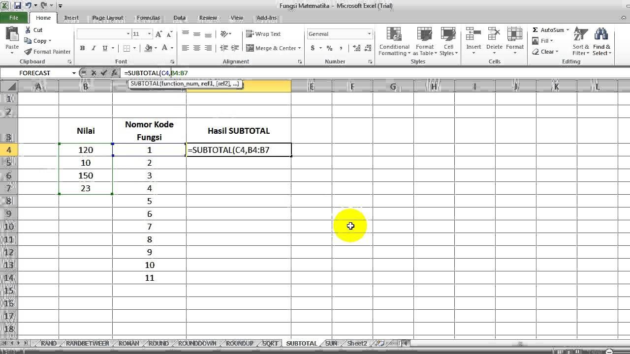 Cara Menghitung dengan Fungsi SUBTOTAL Excel - YouTube