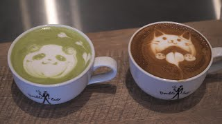 Japanese Cute Latte Art - Cat Panda - Matcha Latte