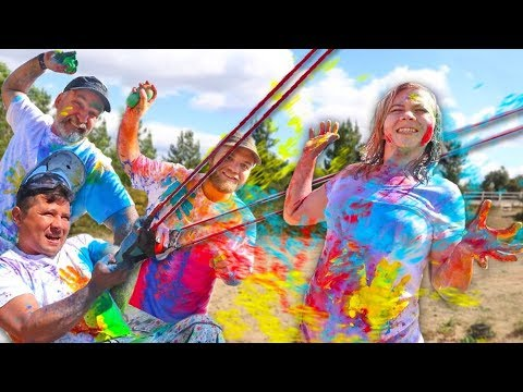 Crazy PAINT BALLOON Challenge! (w/ the family) // SoCassie