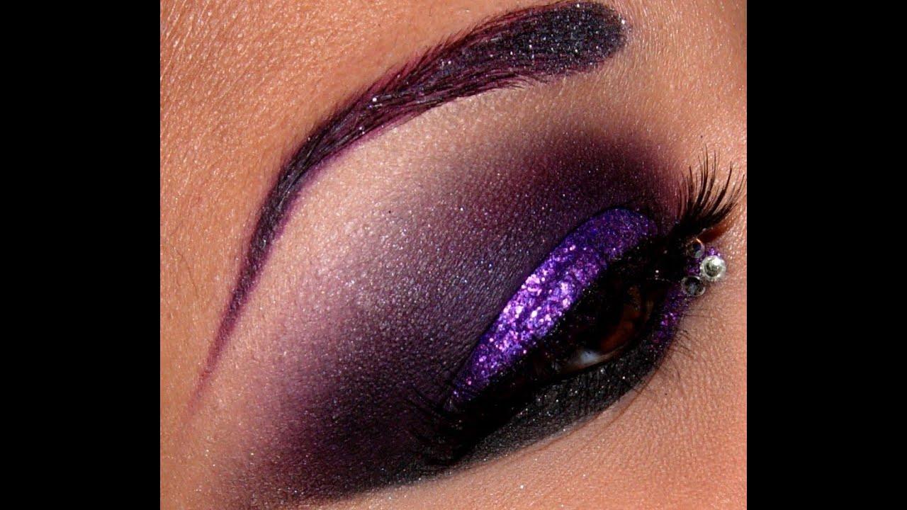 Glittery Smokey Purple eyes!! - YouTube
