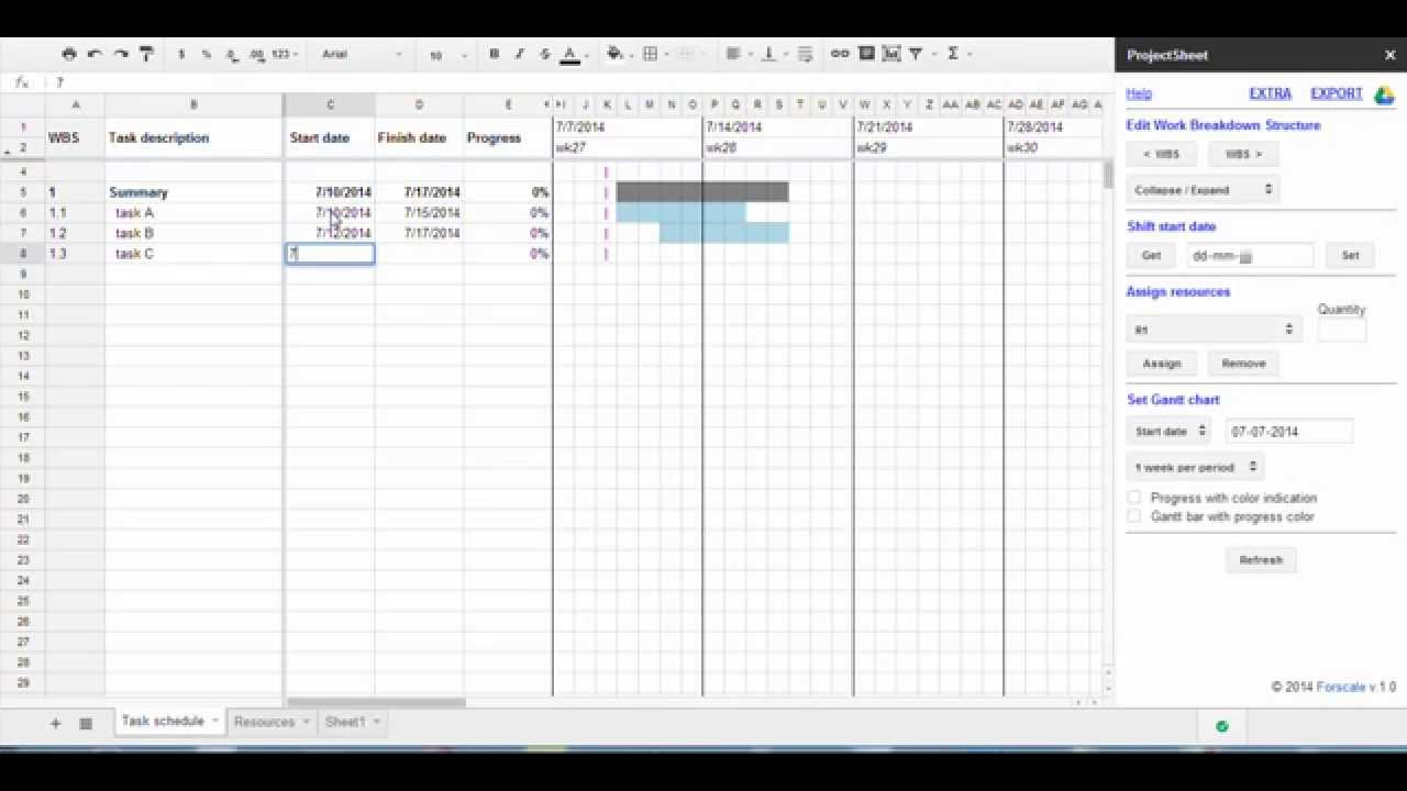 Project Management Using Google Sheets For WBS Breakdown And Gantt Chart