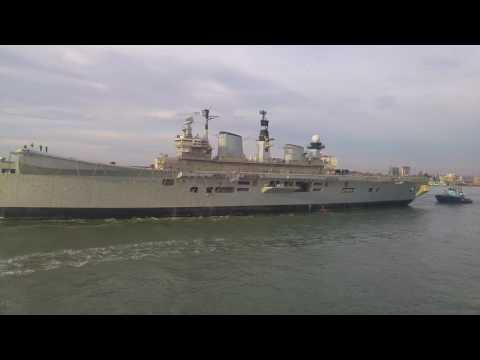 HMS Illustrious leaves Portsmouth for the last time Dec 7 2016