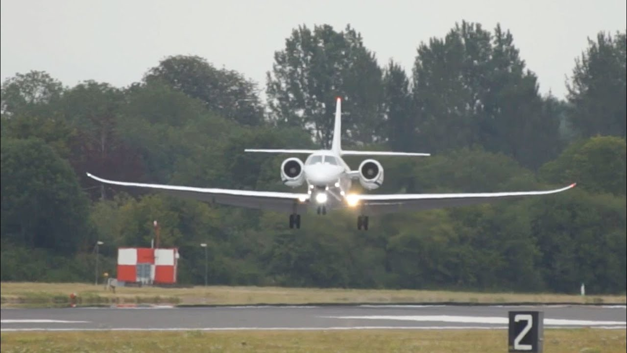 Cessna 680 Citation Sovereign Textron Aviation arrival at RIAT 2015 Airshow
