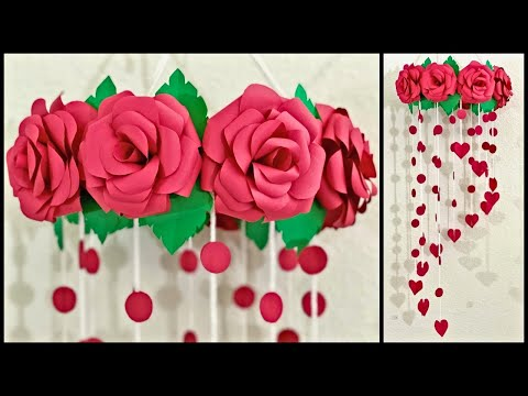 paper-rose-flower-wall-hanging-|-home-decor-ideas---party-decorations.