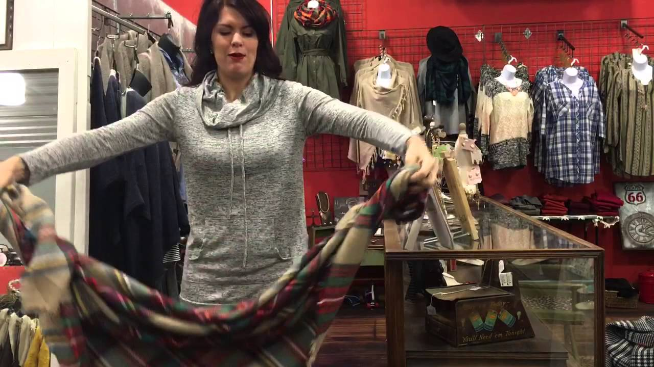 How to Wear a Blanket Scarf with a Cowl Neck Top! - YouTube