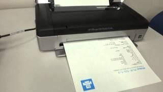 モバイルプリンタ hp officejet 100 mobile usbとbluetoothでの印刷の様子
