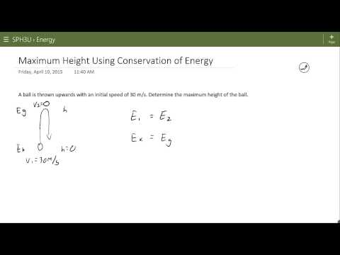 Maximum Height Using Energy