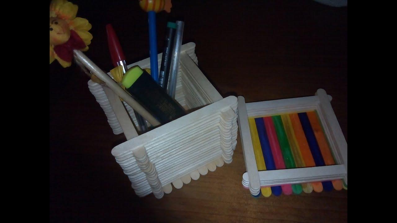 Como hacer un porta lapices con palillos de helado youtube - Como hacer un lapicero de madera ...