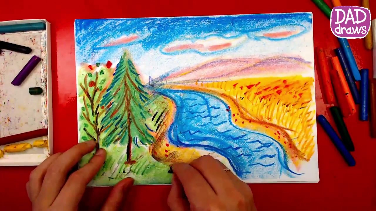 How to draw landscape oil pastel art for kids
