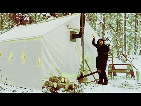 Winter Camping in a Canvas Tent with a Girl and a Woodstove.