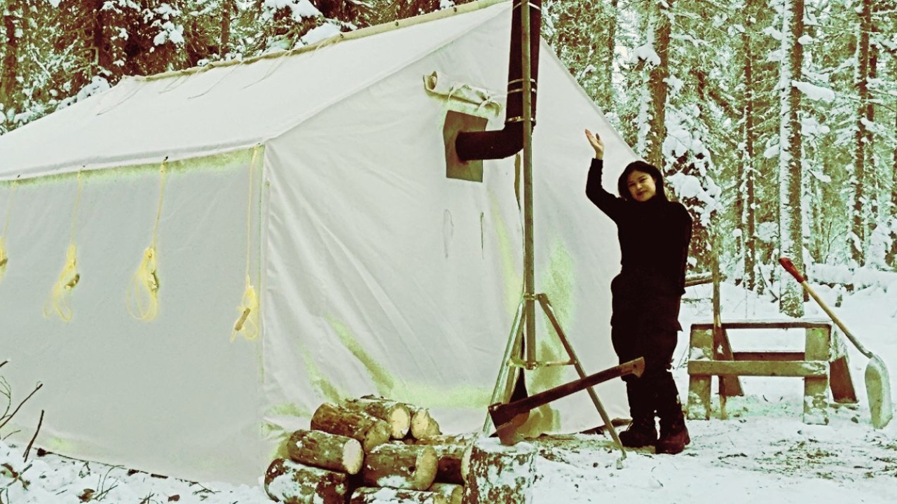 & Winter Camping in a Canvas Tent with a Girl and a Woodstove. - YouTube