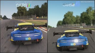 Project CARS vs Project CARS 2 Preview Build - Aston Martin Vantage GT3 at Brands Hatch GP