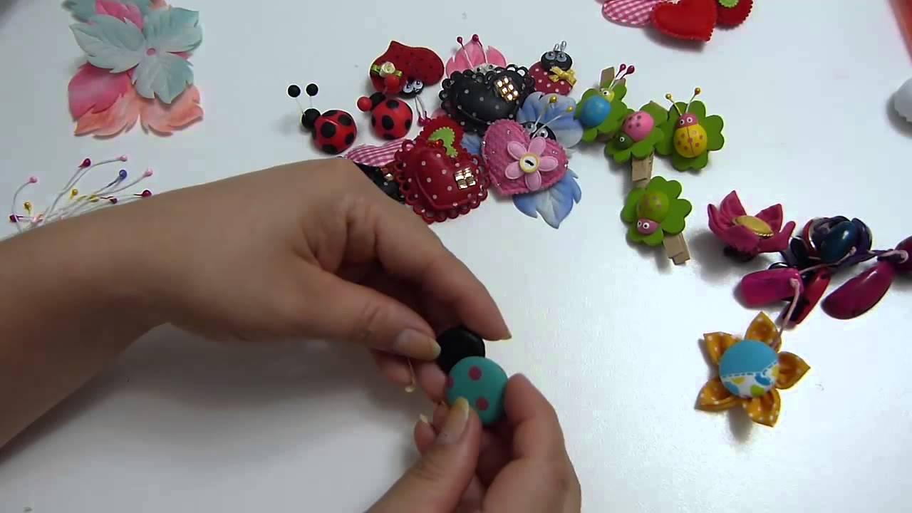 Mariquitas con botones y corazones para decorar mo os o manualidades youtube - Manualidades relojes de pared ...