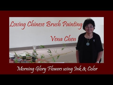 Morning Glory Flowers using Ink & Color with Vena Chen Loving Chinese Brush Painting 0006