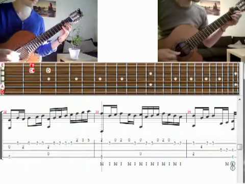 Kunuk Canon in D on classical guitar with tabs YouTube - YouTube