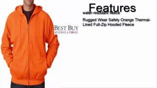 Rugged Wear Safety Orange Thermal Lined Full Zip Hooded Fleece