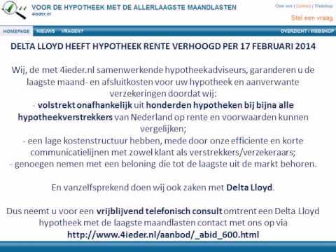 Delta Lloyd Heeft Hypotheek Rente Verhoogd Per 17 Februari 2014