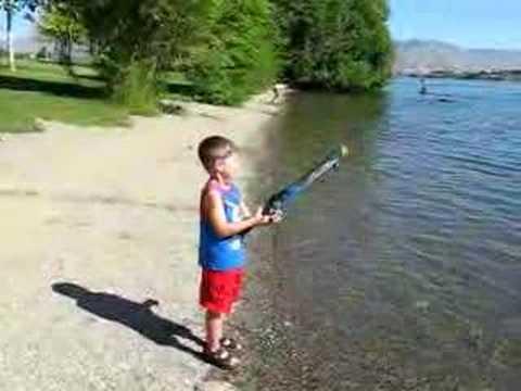 Zach fishing with the rocket fishing rod youtube for Rocket rod fishing pole