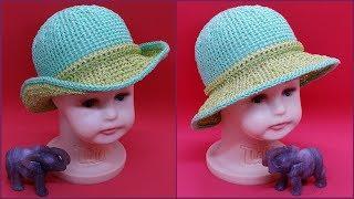 "Комбинированная шляпка из пряжи ""Косичка"". Шляпка крючком. Combined hat from the yarn ""pigtail""."