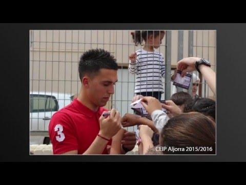 Los jugadores del F.C. Cartagena visitan el colegio Aljorra el pasado 15 Abril 2016
