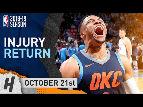 Russell Westbrook INJURY RETURN Highlights Thunder vs Kings 2018.10.21 - 32 Pts, 12 Reb, 8 Ast