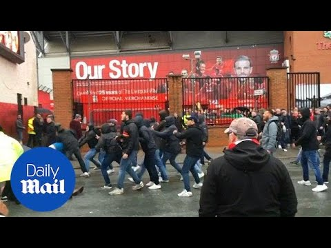 Horrific scenes outside Anfield as Liverpool and Roma fans clash - Daily Mail