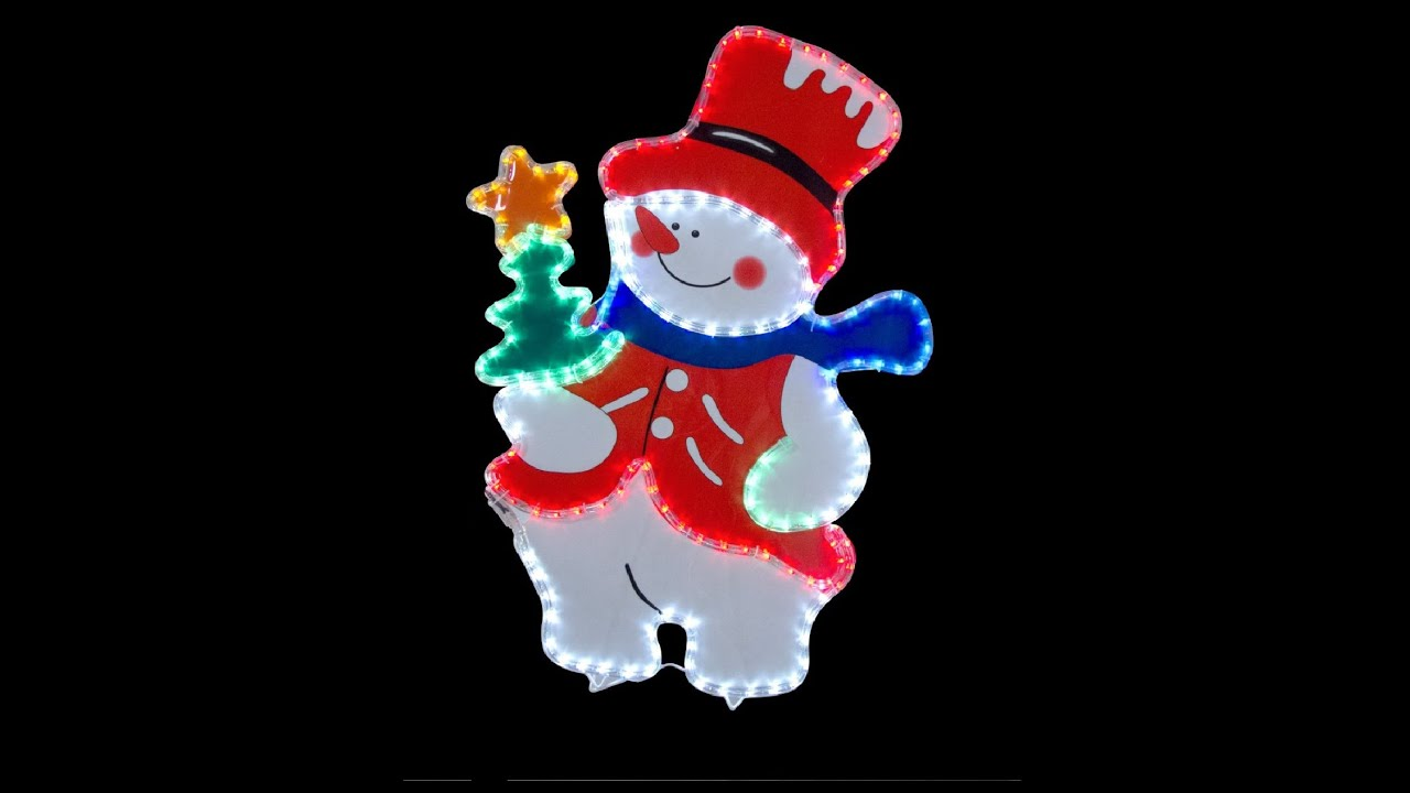 Rope light motifs snowman with led rope light 80cm youtube aloadofball Images