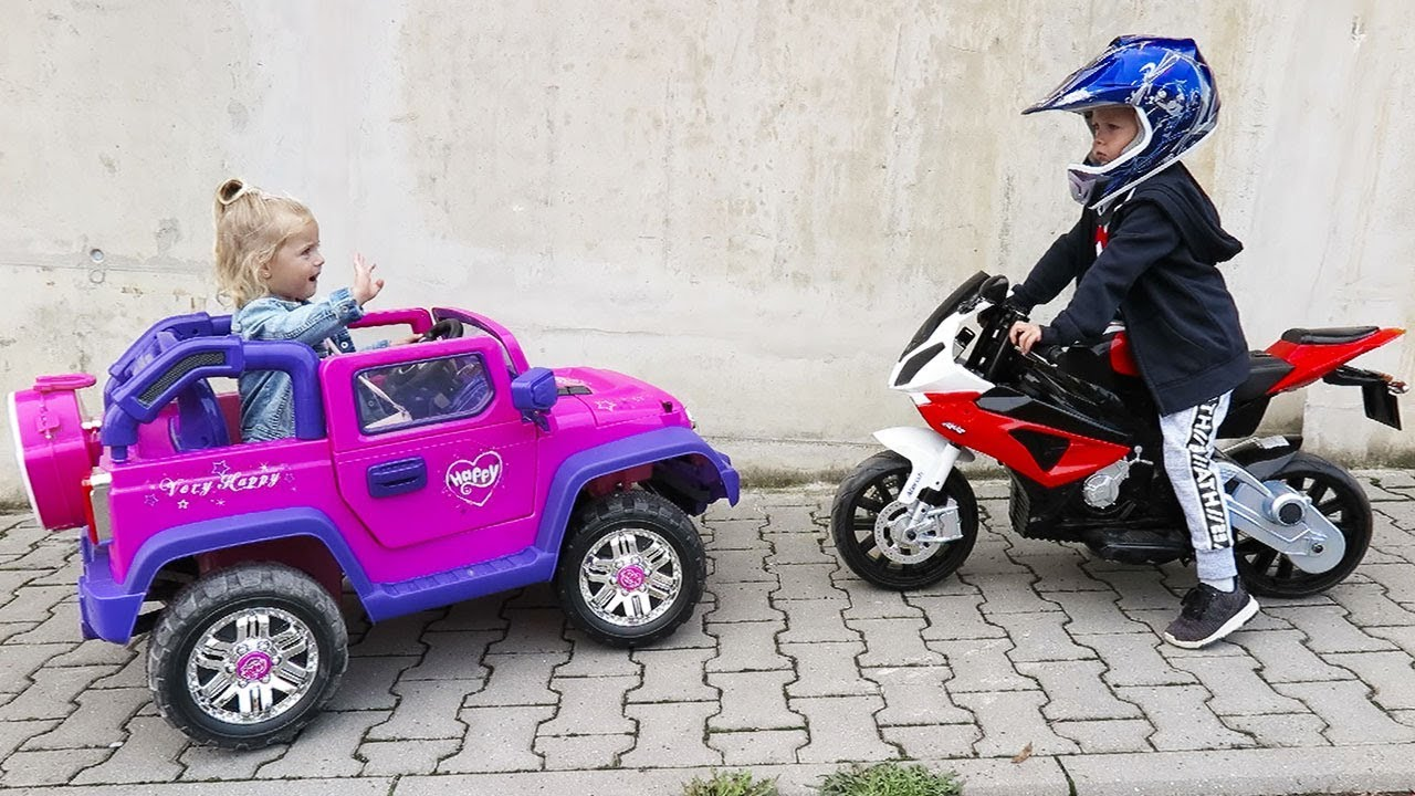 Little Girl Elis Ride On Pink My Little Pony Jeep 12V Power Wheel with  Thomas Toys motorbike BMW