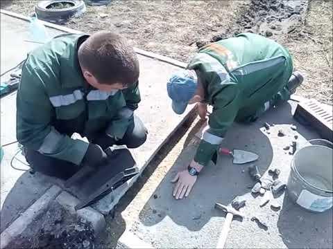 Установка лотка ливневой канализации. Просторы