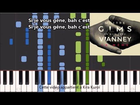 Maitre Gims ft Vianney - La même - Karaoke / Piano synthesia tutorial (+ Paroles et partition)