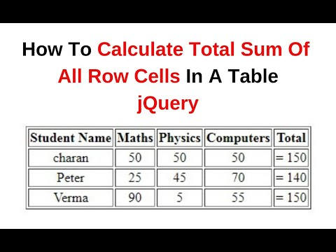 Get The Total Sum Of Table Row Column Cells Value Using