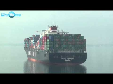 MERCHANT NAVY HANJIN BRUSSELS CONTAINER SHIP VIDEO