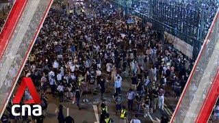 Hong Kong protesters block roads in Tsuen Wan, Causeway Bay