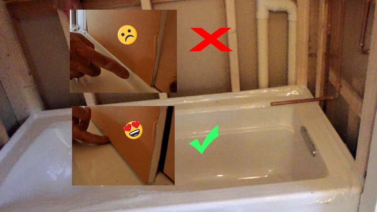 proper way to install backer board in tub area