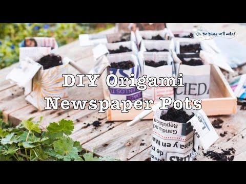 Origami Newspaper Pots
