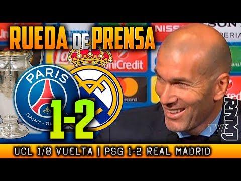 PSG 1-2 Real Madrid Rueda de prensa de ZIDANE Post Champions (06/03/2018)