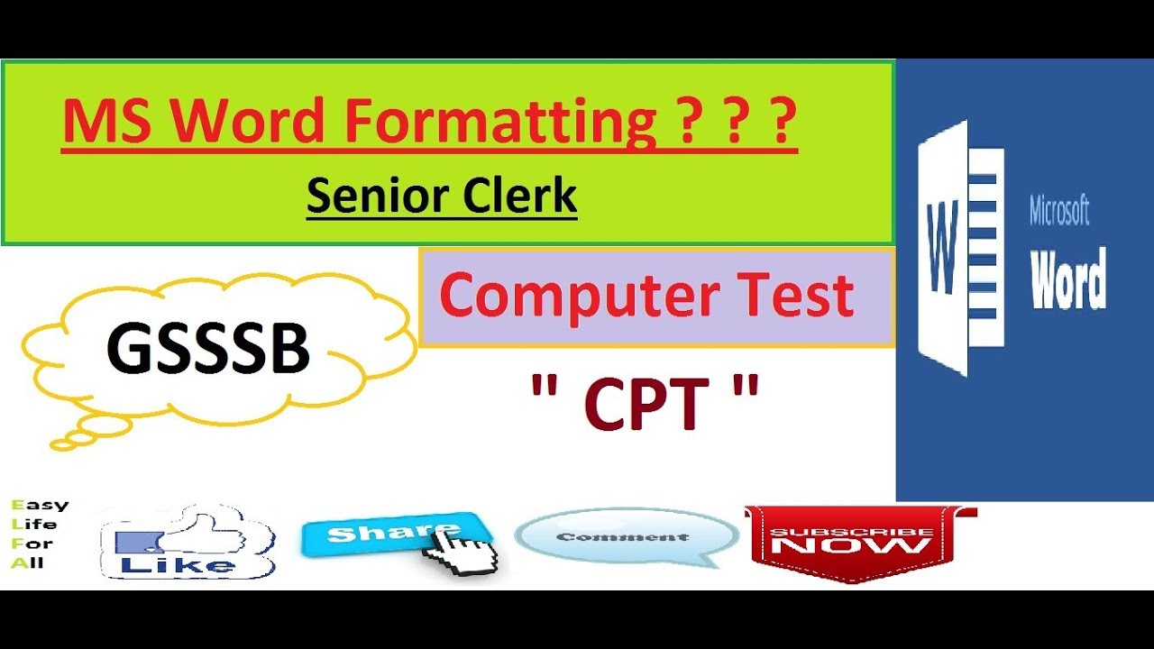senior clerk computer practical formatting in ms word for gsssb and