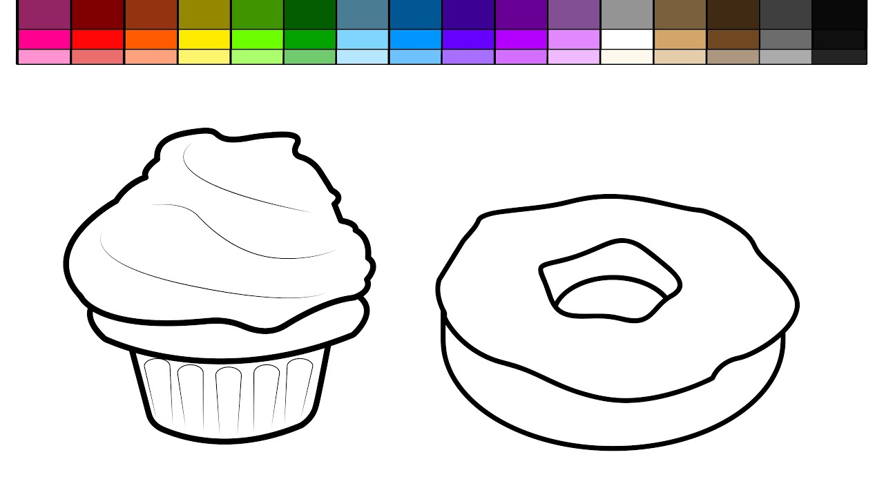 Learn Colors For Kids And Color Cupcake Donut Coloring Page