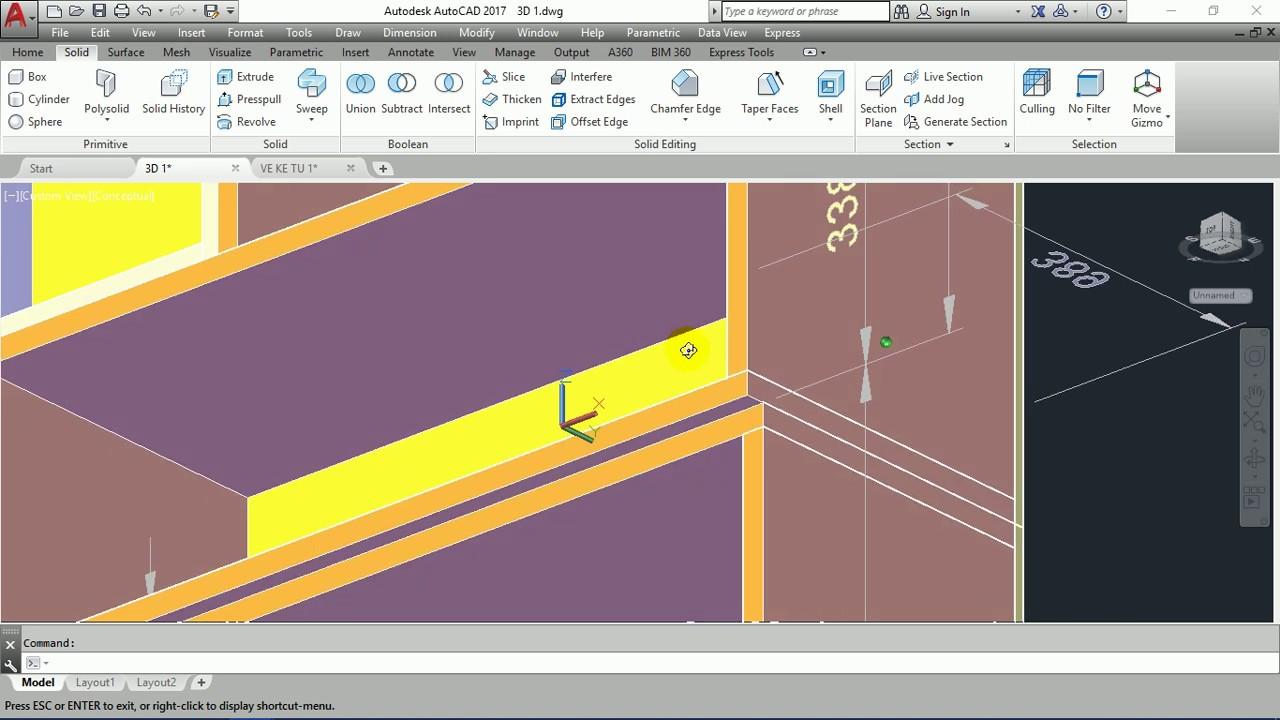 Thực hành vẽ AutoCAD 3D đồ nội thất – Vẽ tủ kệ 3D