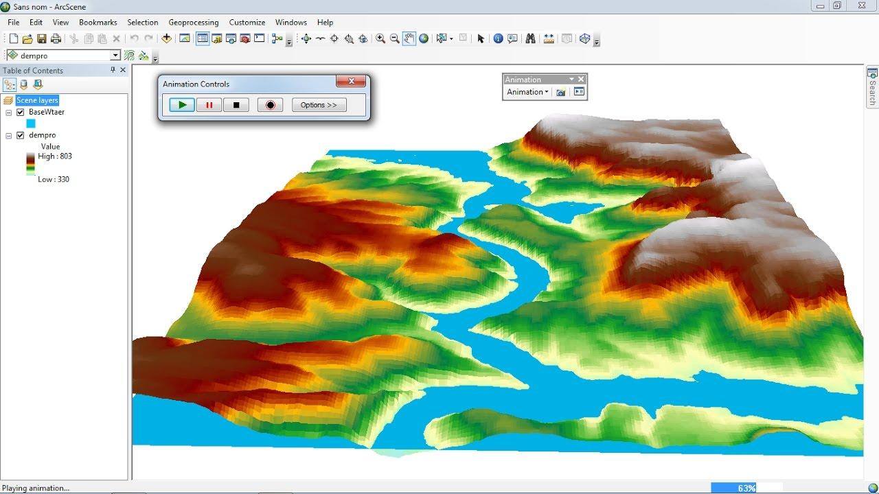 Arcgis 3d Analyst   Arcscene Animation Of Flood