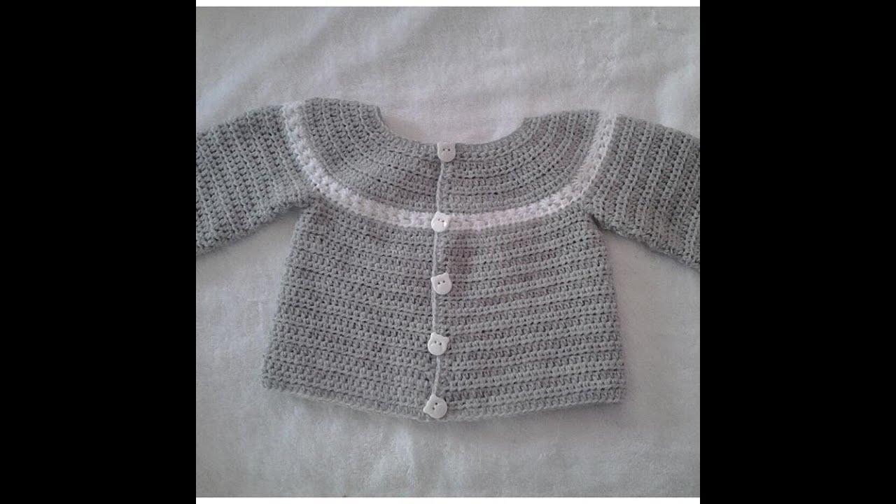 Chaquetita o chambrita a crochet para bebe parte 1 #tutorial #DIY ...