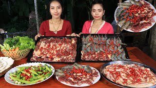 BBQ Beef and sea food with shrimp paste sauce recipe