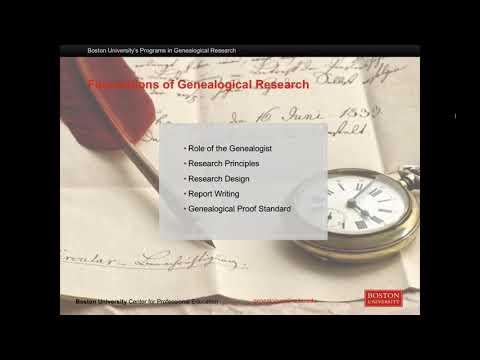 Boston University's Programs In Genealogical Research Webinar