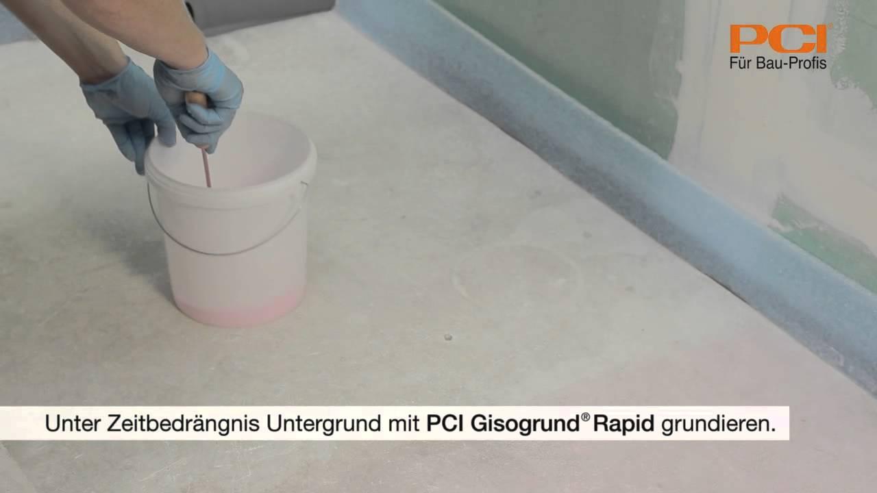PCI Gisogrund Rapid Unter Zeitbedrängnis Vor Dem Verlegen Von - Untergrund für fliesen im bad