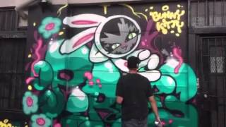 "Dave ""Persue"" Ross paints a Bunny Kitty mural in San Francisco"