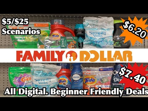 Family Dollar Couponing | $5/25 Scenarios | Transactions Under $8 | Beginner Friendly | All Digital