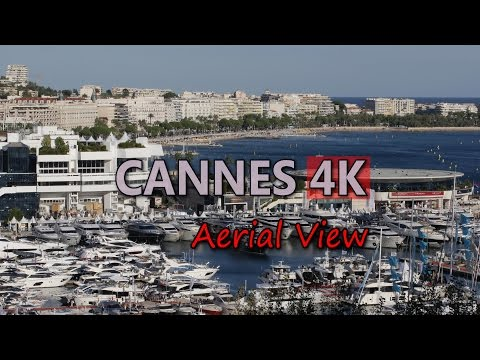 Ultra HD 4K Cannes Travel Aerial View Tourism French Riviera Cote d'Azur Port Video Stock Footage