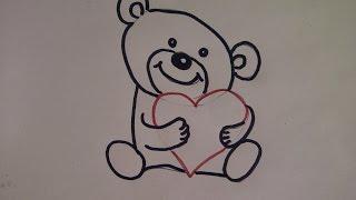 Как очень просто нарисовать плюшевого медведя, медвежонка  мишку Тедди с сердцем(Здравствуйте! Предлагаю вашему вниманию видеоролик, где я показываю, как очень просто нарисовать плюшевого..., 2015-08-01T06:05:35.000Z)