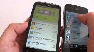 HTC Sensation vs iPhone 4  Android 2.3.3 HTC Sense 3.0 vs iOS  4.3.3