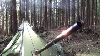 Overnight in Another UltraLight Backpacking Hot Tent and Titanium Wood Stove